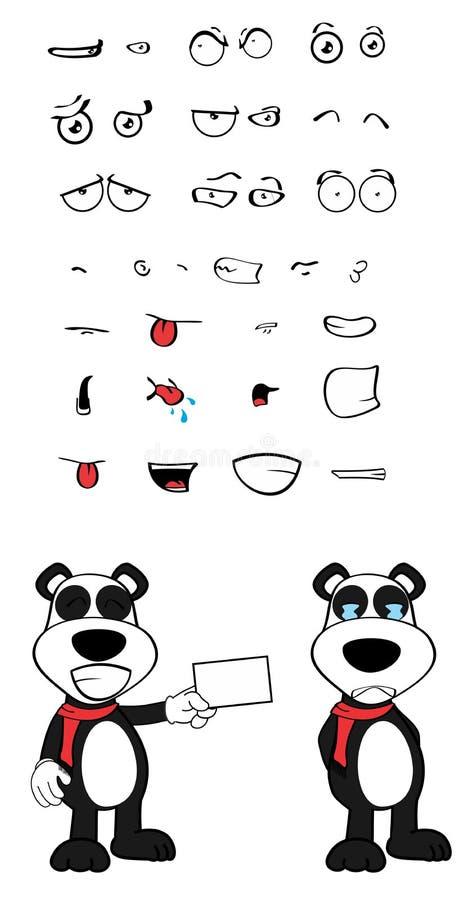 女用连杉衬裤熊猫动画片情感被设置的卡片 向量例证