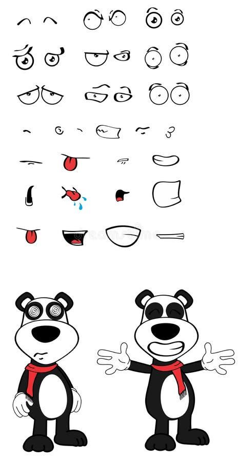 女用连杉衬裤熊猫动画片情感被设置的拥抱 向量例证