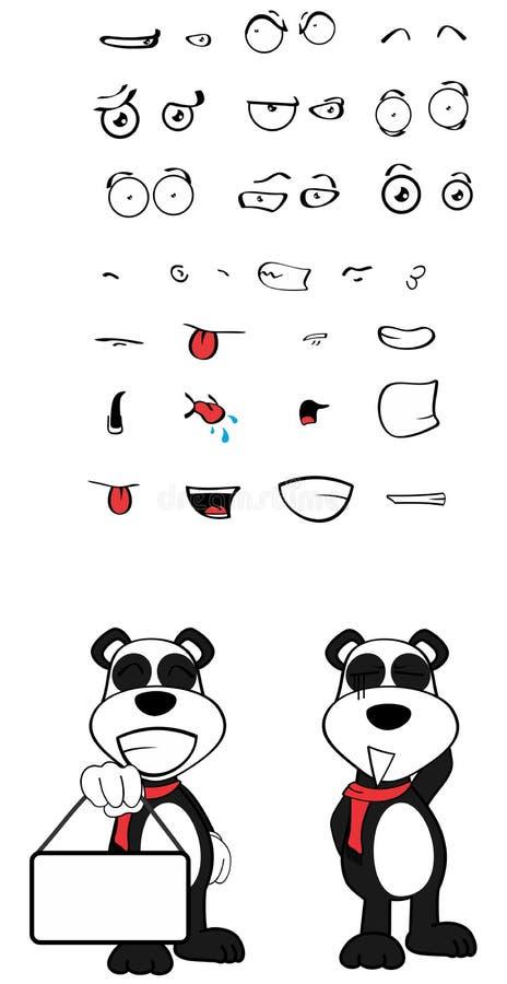 女用连杉衬裤熊猫动画片情感设置了copyspace 皇族释放例证