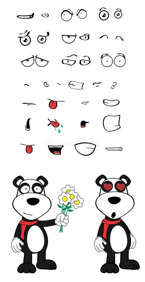 女用连杉衬裤熊猫动画片情感设置了inlove 库存例证