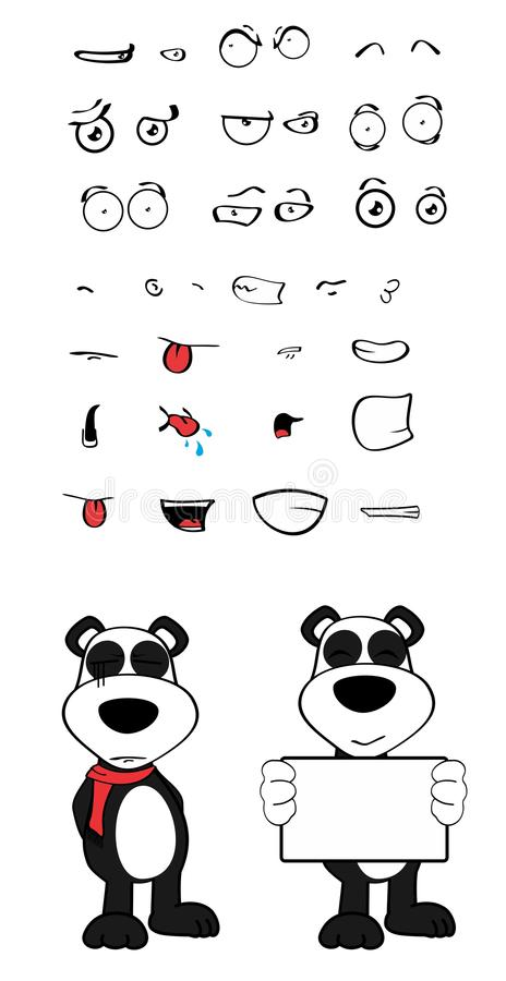 女用连杉衬裤熊猫动画片情感设置了singboard 皇族释放例证