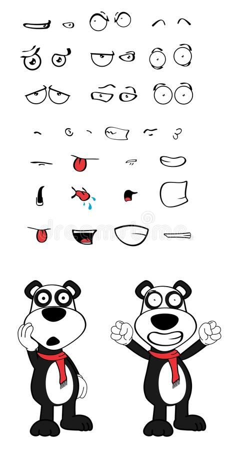 女用连杉衬裤熊猫动画片情感set1 向量例证
