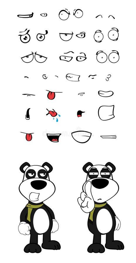 女用连杉衬裤熊猫动画片情感set3 库存例证