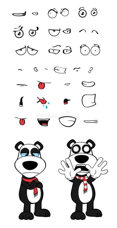 女用连杉衬裤熊猫被设置的动画片情感哭泣 皇族释放例证