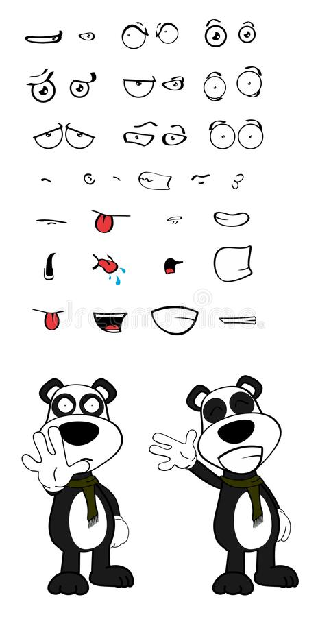 女用连杉衬裤熊猫被设置的动画片情感 皇族释放例证