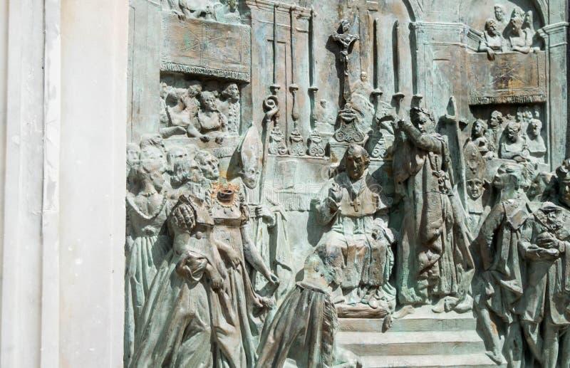 女皇约瑟芬的被雕刻的安心纪念碑在La Savane公园,马提尼克岛 库存图片