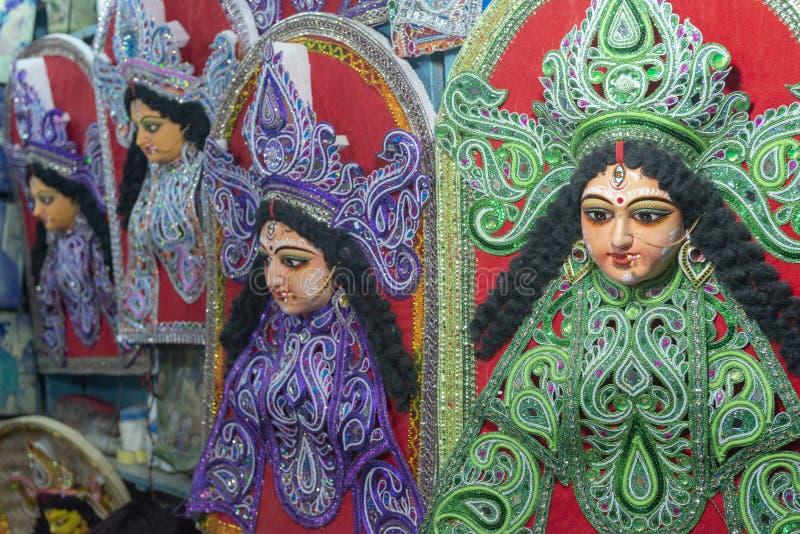 女神杜尔加五颜六色的神象Kumartuli的,加尔各答,印度 免版税库存照片