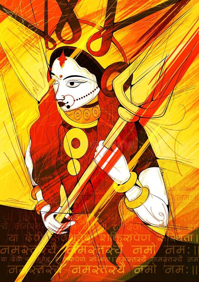 女神杜尔加在Subho Bijoya愉快的Dussehra背景中 库存例证