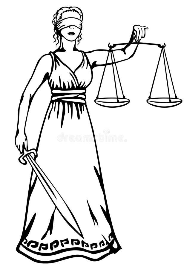 女神正义themis 皇族释放例证