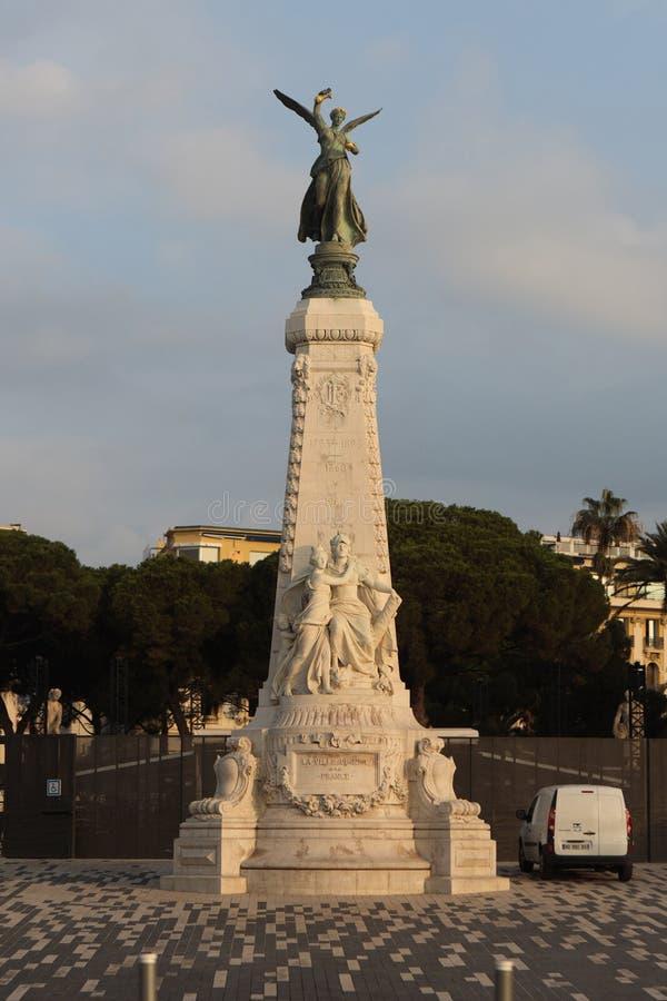 女神耐克La Ville de Nice雕象一la法国在尼斯, Fra 库存图片