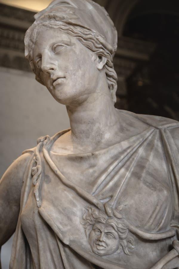 女神雅典娜的雕塑的片段 免版税库存照片