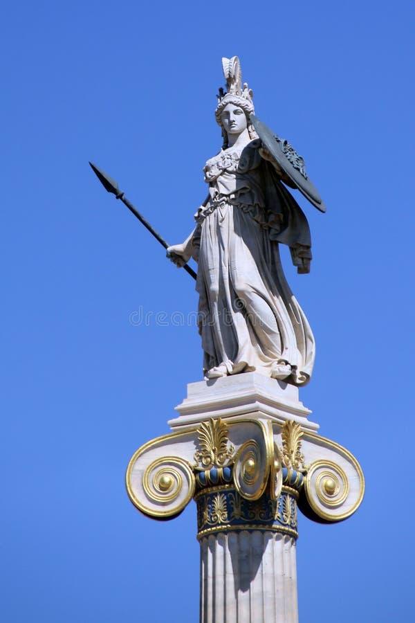 女神雅典娜,雅典,希腊的雕象 免版税库存图片