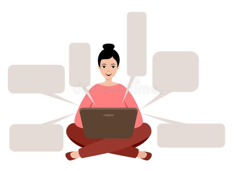 女自由职业者正在使用笔记本电脑 距离作业 空话窗体 向量例证