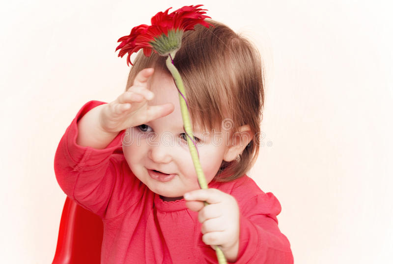 女花童红色的一点 库存照片