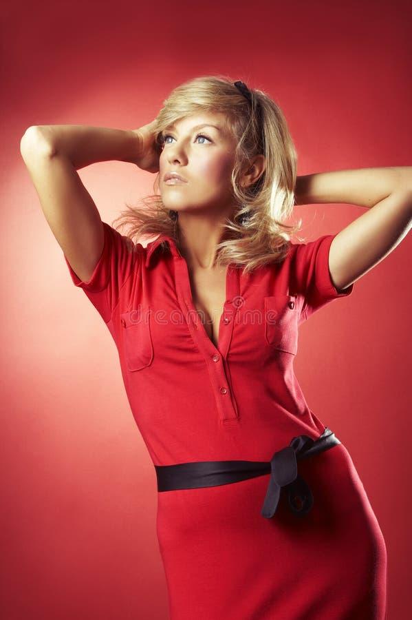 女衬衫女孩红色性感 免版税库存图片
