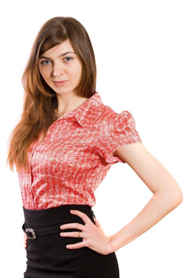女衬衫女孩红色 库存图片