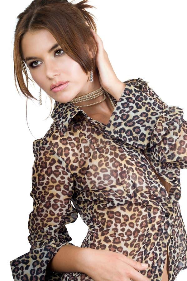 女衬衫豹子妇女 免版税库存图片