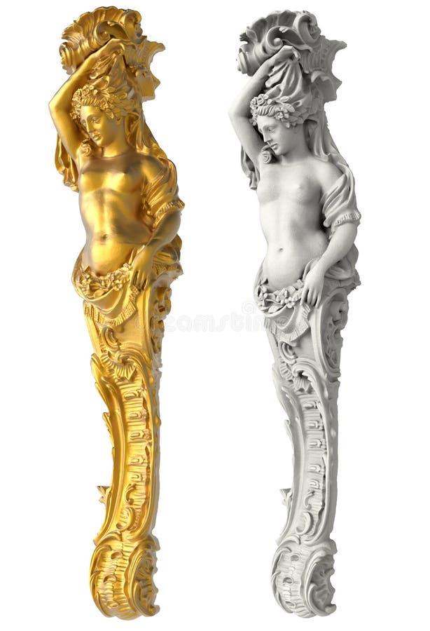 女象柱的希腊古老雕象在白色背景的 免版税库存图片