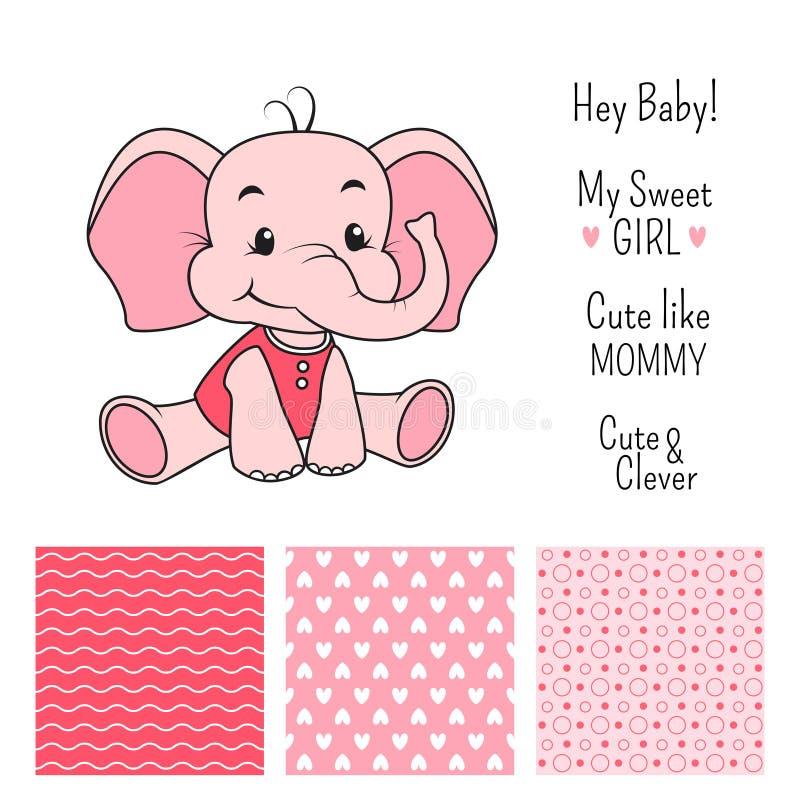 女婴与无缝的样式的大象设计 向量例证
