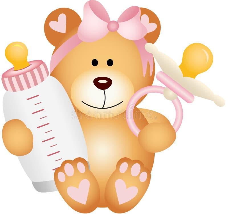 女婴与婴孩安慰者的玩具熊和瓶挤奶 皇族释放例证