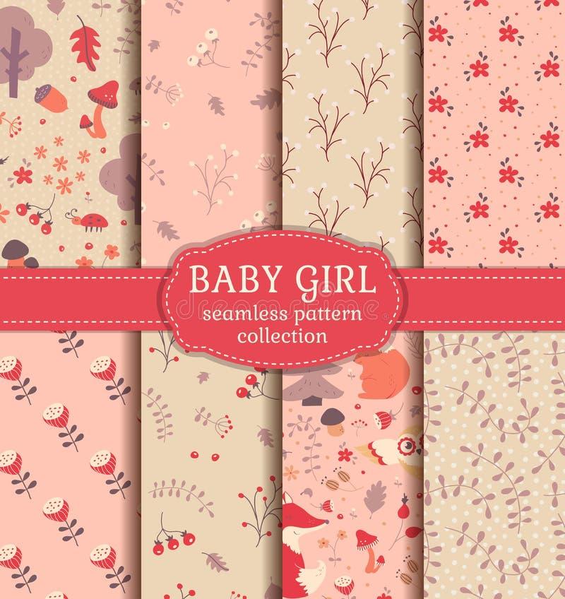 女婴无缝的样式 传染媒介汇集 向量例证
