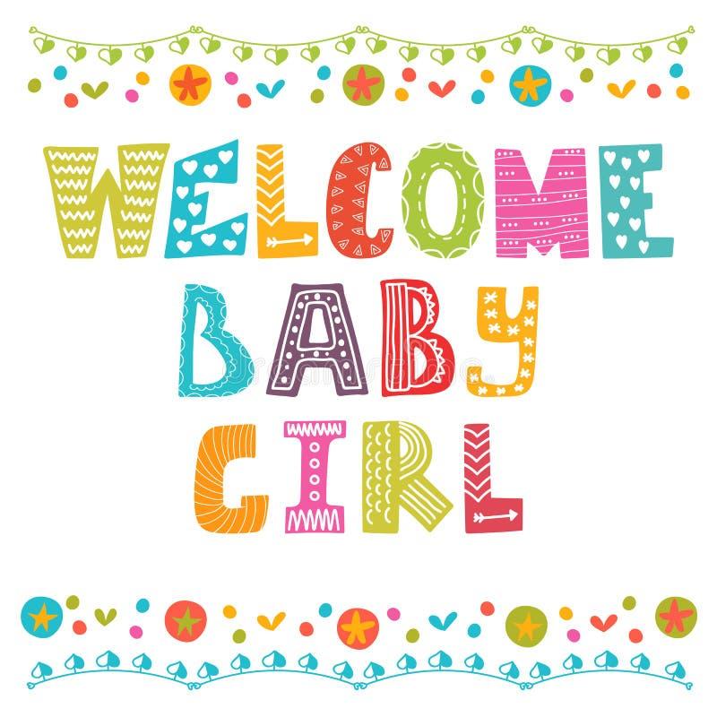 女婴欢迎 女婴更改地址通知单 女婴阵雨卡片 皇族释放例证