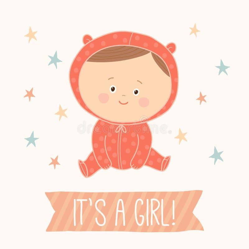 女婴的婴儿送礼会卡片 婴孩逗人喜爱的女孩开会 深色头发的小孩女孩 库存例证