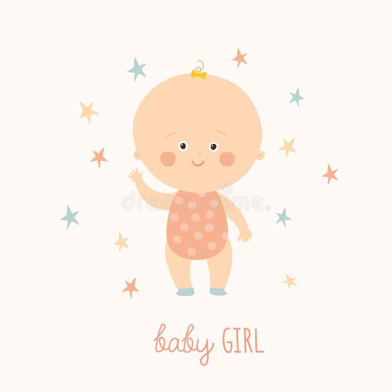 女婴的婴儿送礼会卡片 逗人喜爱的女婴身分 白肤金发的小孩女孩 动画片传染媒介手拉的eps 10 向量例证