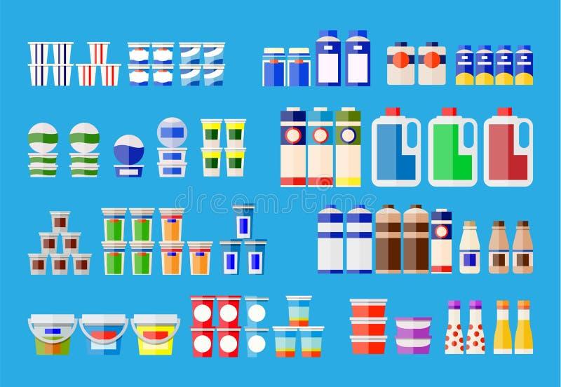 奶制品以各种各样的包裹 库存例证