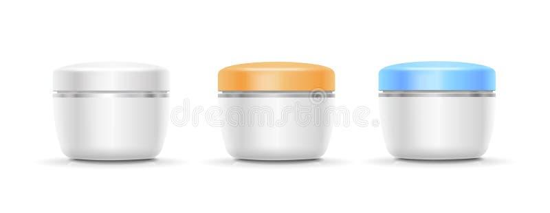 奶油、粉末或者胶凝体的空白的化妆容器 向量 皇族释放例证