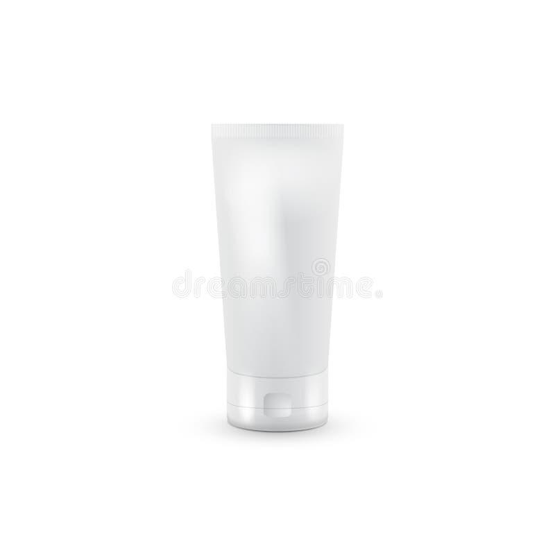 奶油或胶凝体的灰色极谱管白色清洗 背景指纹例证白色 模板的嘲笑准备好您 库存例证