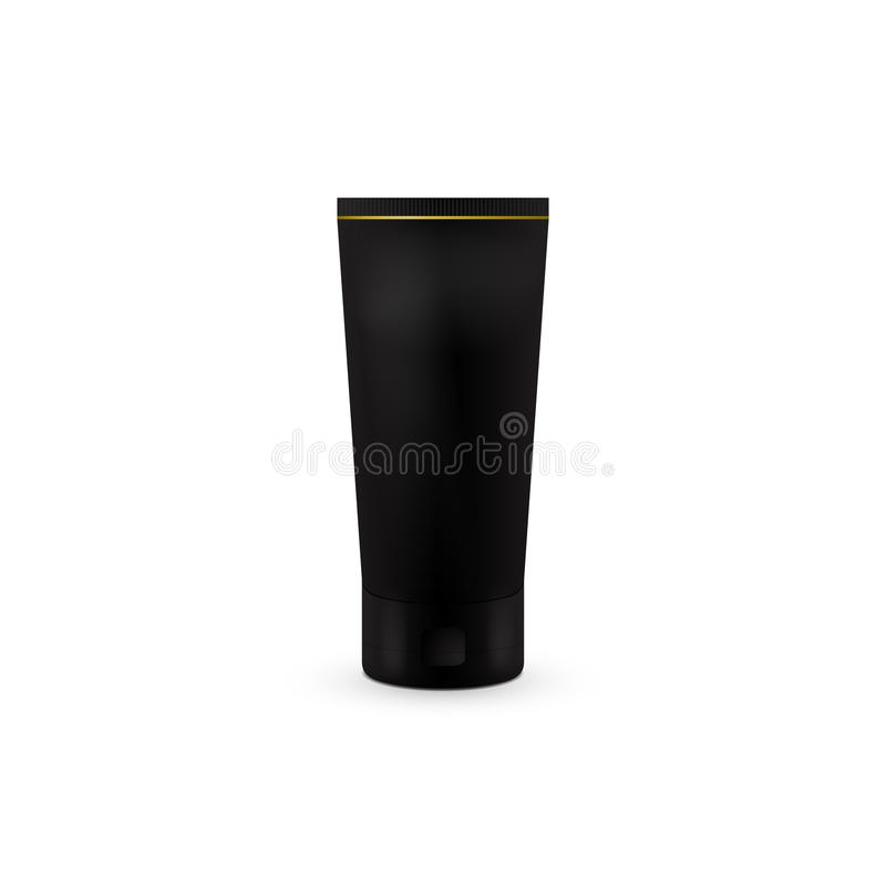 奶油或胶凝体管 黑色颜色 背景指纹例证白色 模板的嘲笑准备好您的设计 向量例证
