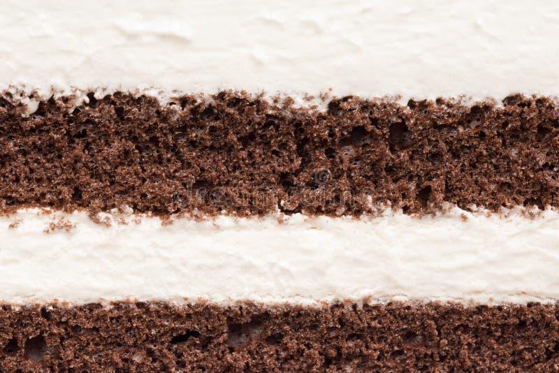 奶油甜点和巧克力蛋糕纹理  免版税库存图片