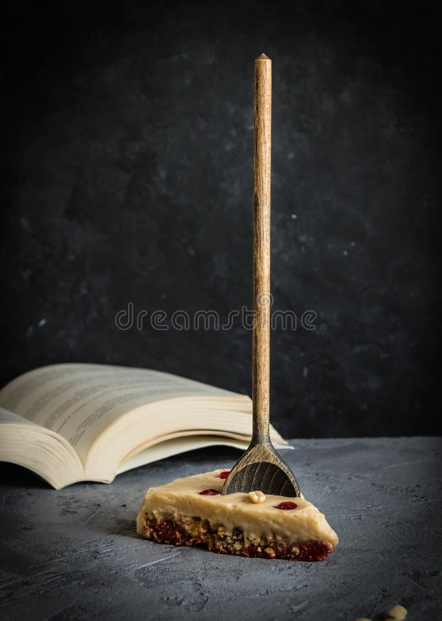 奶油甜点蛋糕片断  Copyspace 免版税库存图片
