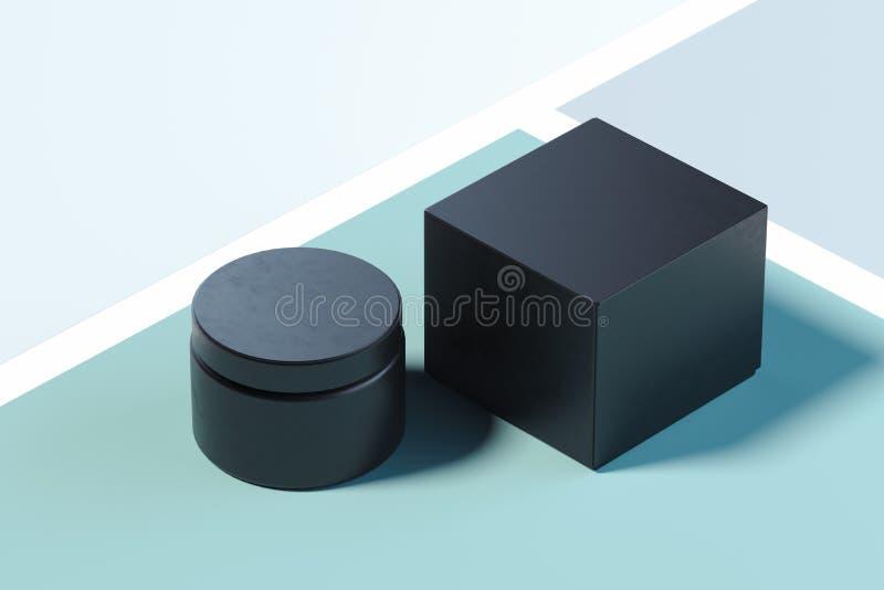 奶油的黑塑料化妆瓶在多彩多姿的背景 3d?? 库存例证