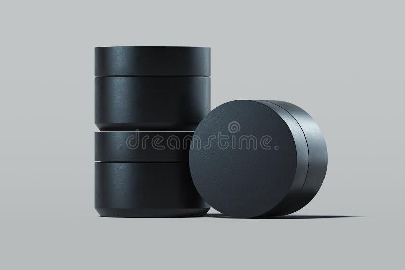 奶油的,在灰色背景的化妆水塑料化妆瓶 3d翻译 皇族释放例证