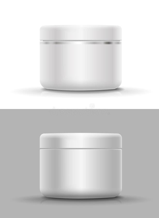 奶油的,粉末传染媒介空白的化妆容器 向量例证