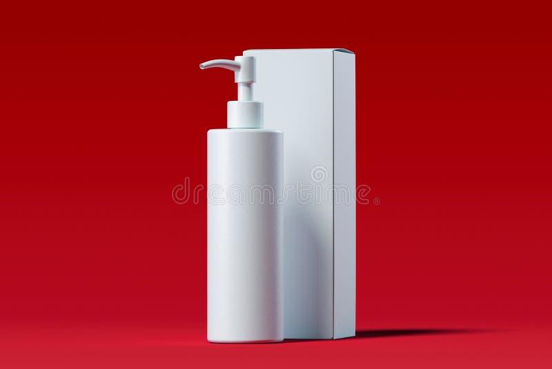 奶油的,胶凝体,化妆水化妆分配器 美容品包裹 3d翻译 皇族释放例证