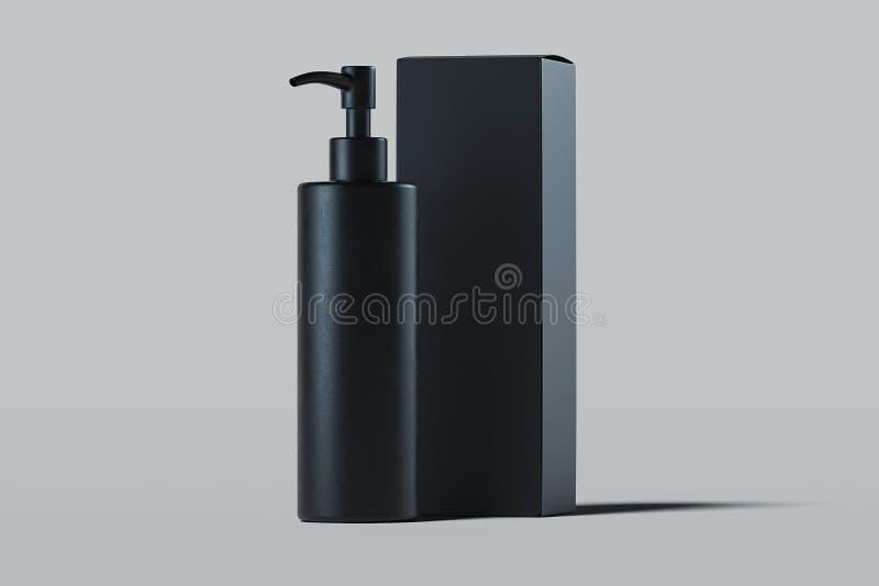 奶油的,胶凝体,化妆水化妆分配器 美容品包裹 3d翻译 库存例证
