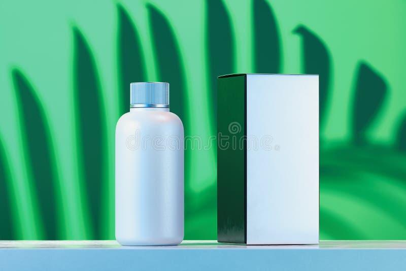 奶油的,胶凝体,化妆水,染料化妆瓶 空白的美容品包裹纸板箱 3d?? 皇族释放例证