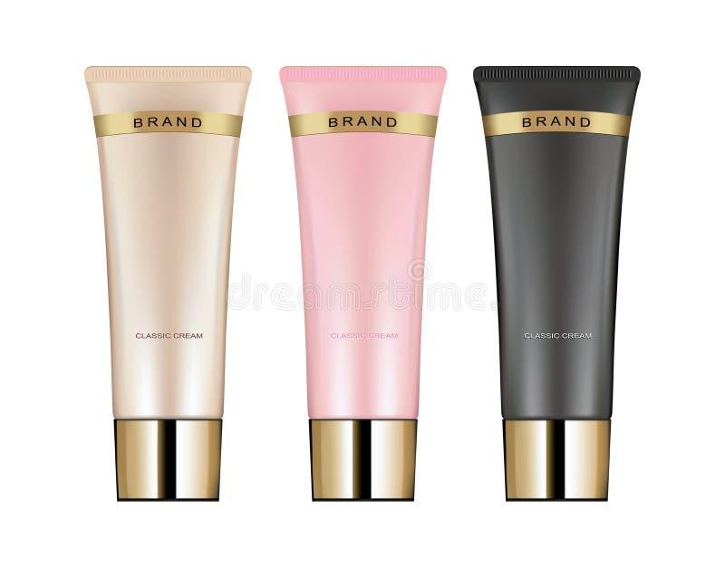 奶油的,胶凝体,液体,泡沫化妆管 美容品 向量例证