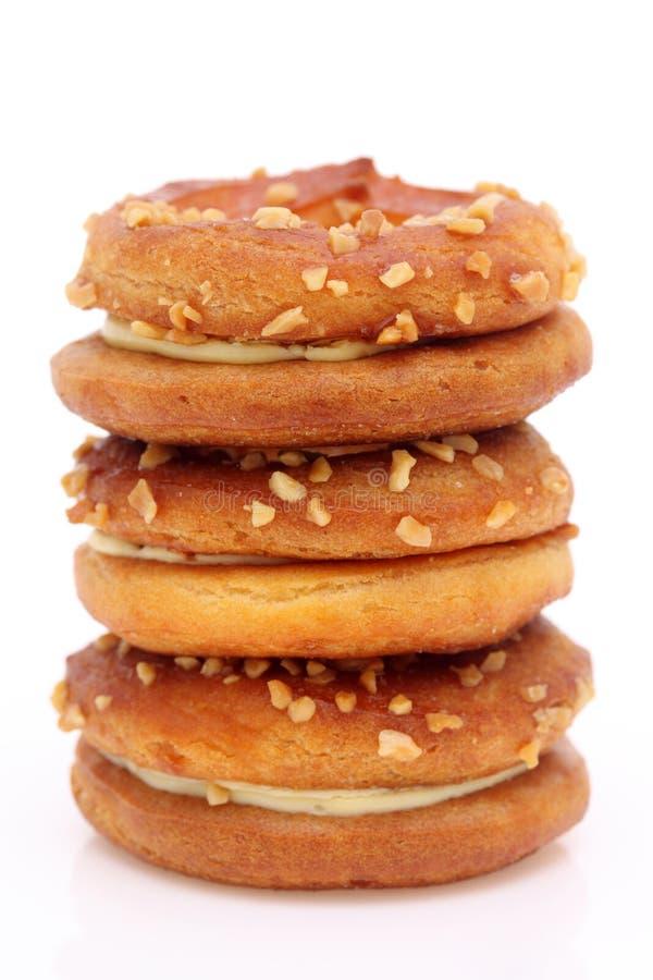 奶油色三明治薄脆饼干 免版税库存照片