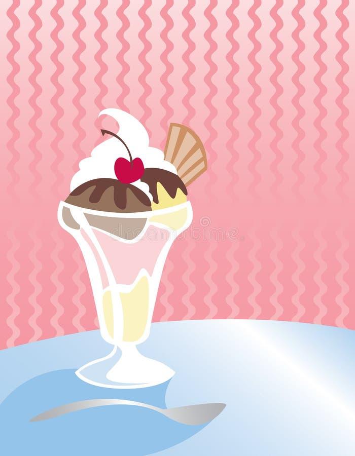奶油色冰圣代冰淇淋 库存例证