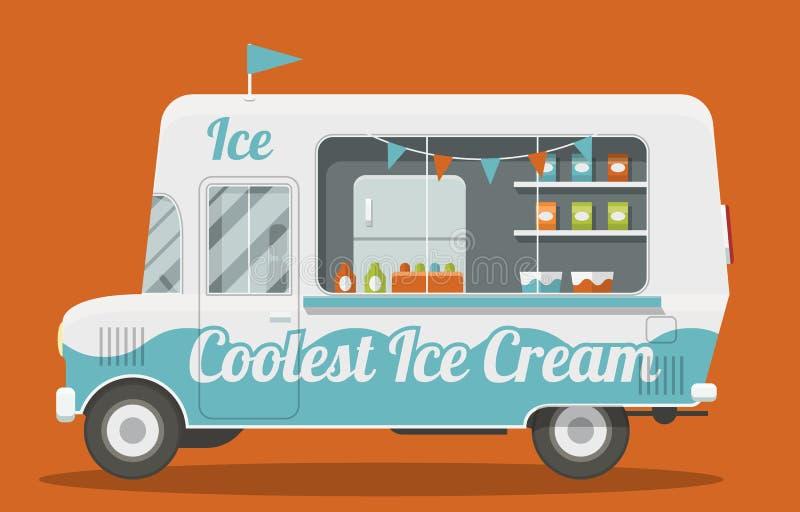 奶油色冰有篷货车 向量例证