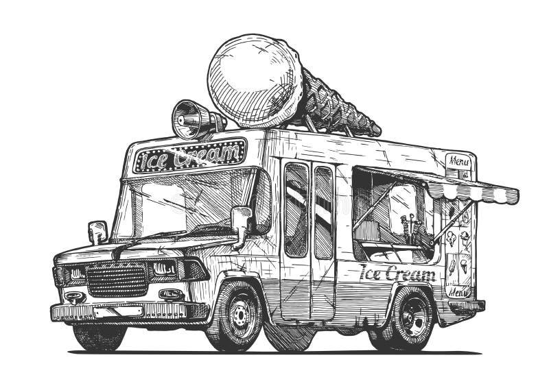 奶油色冰有篷货车 库存例证