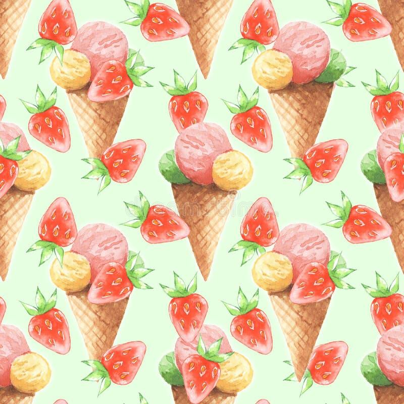 奶油色冰草莓 无缝的样式4 向量例证