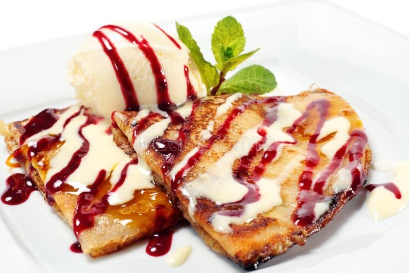 奶油色冰薄煎饼 库存图片