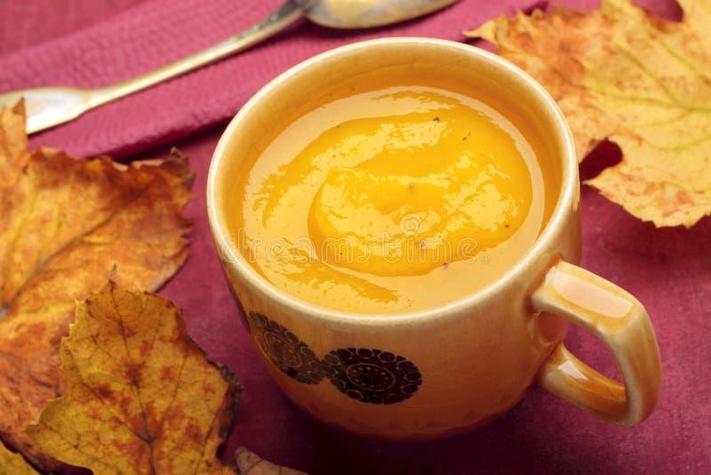 奶油色南瓜汤 免版税图库摄影