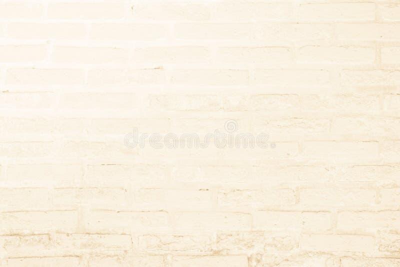 奶油色和白色砖墙纹理背景 砖砌或石制品地板内部岩石老样式干净的具体栅格 免版税图库摄影
