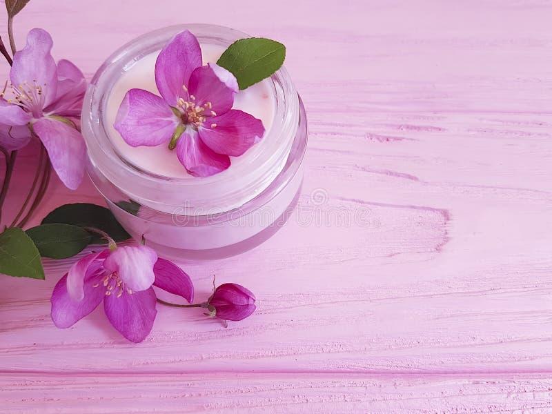 奶油色容器化妆用品,新在桃红色木背景的春天润湿的木兰花 库存图片